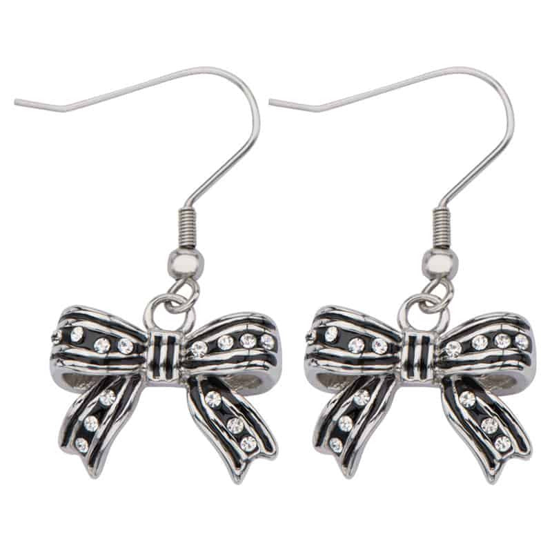 INOX 316L Stainless Steel IP Black Bow Dangle Earrings With CZs