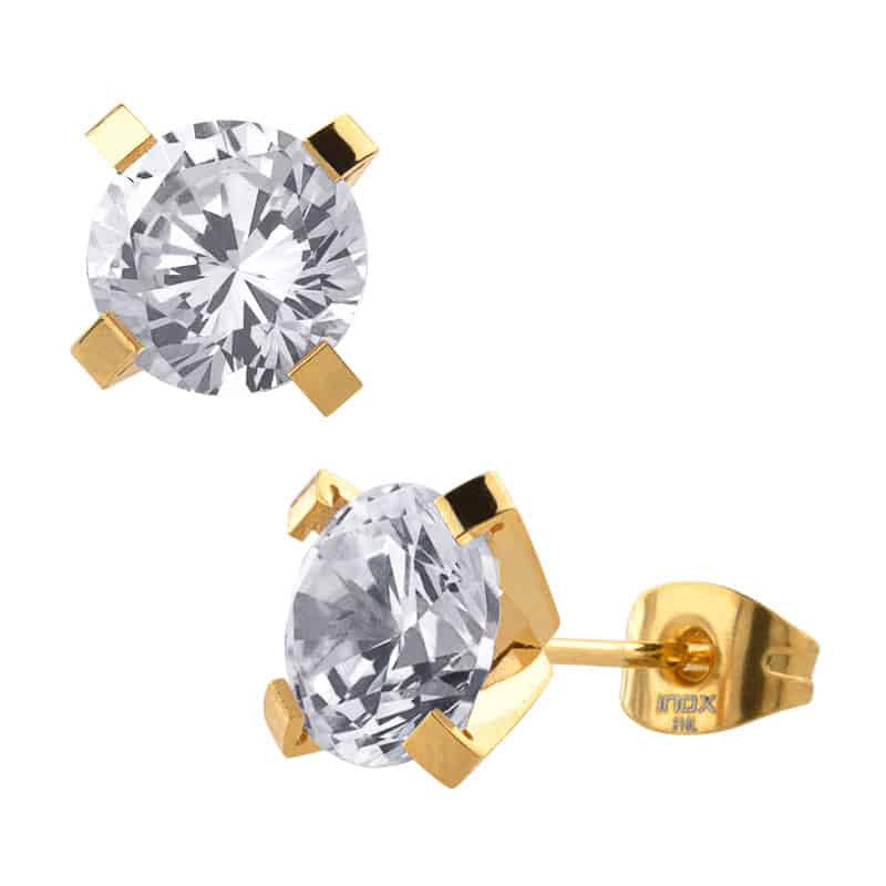 INOX 316L Stainless Steel IP Gold Tone 8mm Classic CZ Stud Earrings