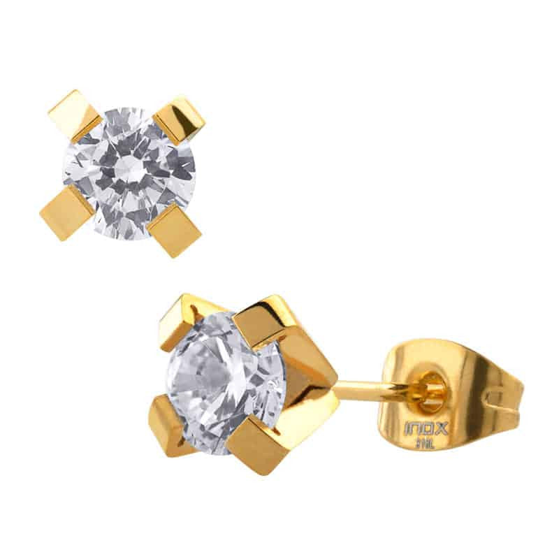 INOX 316L Stainless Steel IP Gold Tone 5mm Classic CZ Stud Earrings