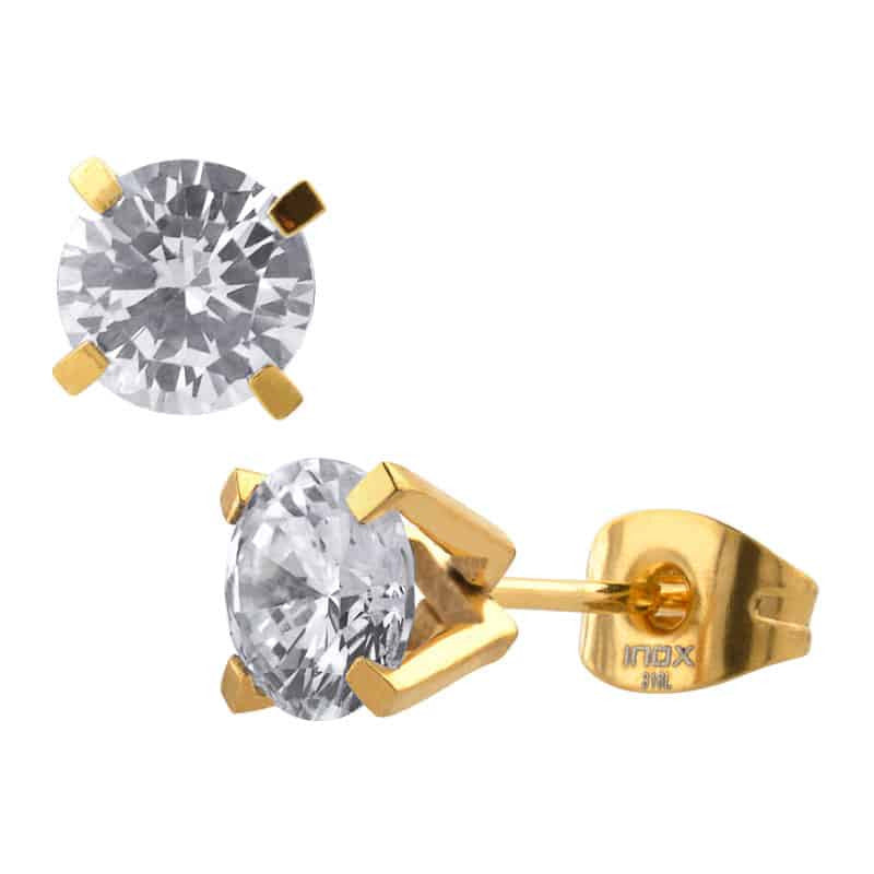 INOX 316L Stainless Steel IP Gold Tone 6mm Classic CZ Stud Earrings