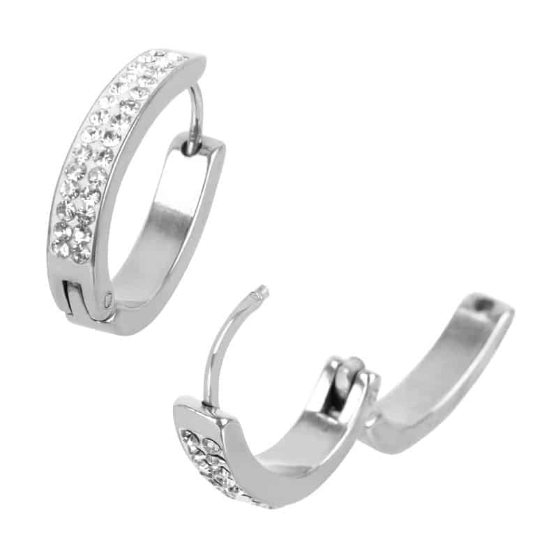 INOX 316L Stainless Steel Large Pear Shaped Huggie Hoop Earrings With Clear Pave Set CZs