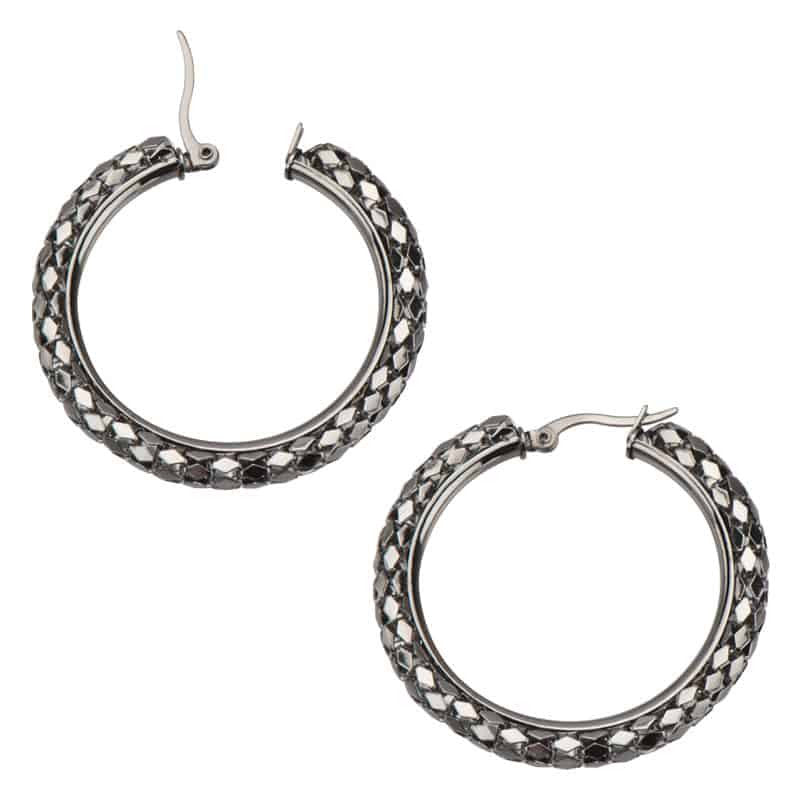 INOX 316L Stainless Steel Sparkle Mesh Hoop Earrings