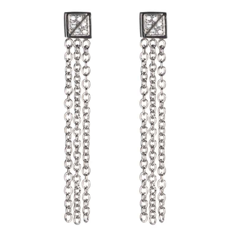 INOX 316L Stainless Steel Square and Dangles Stud Earrings With CZs