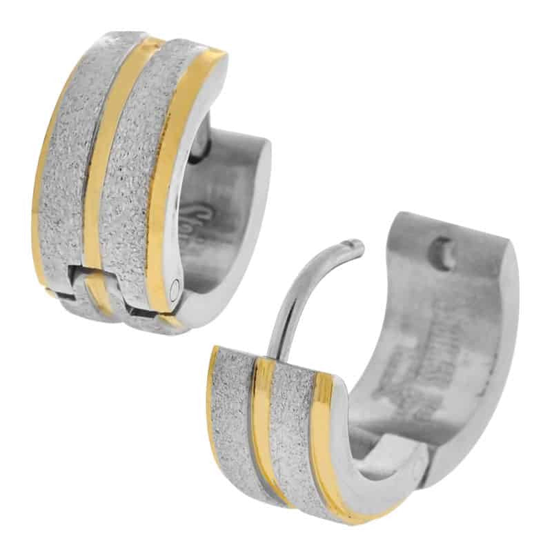 INOX 316L Stainless Steel and Gold Tone Wide Druzy Sparkle Huggie Hoop Earrings