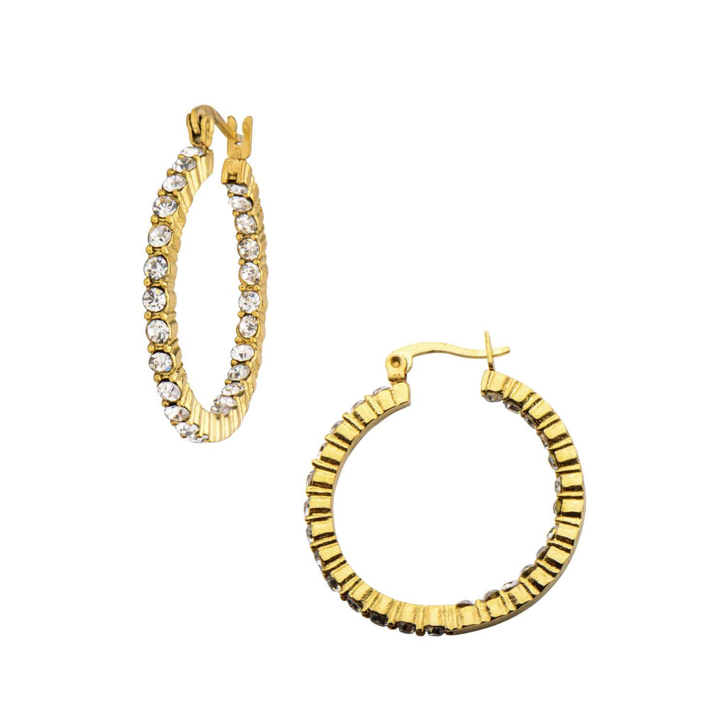 INOX Crystal Hoop Earrings, 316L Stainless Steel