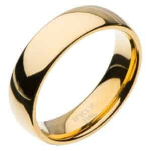 INOX Men's Size 10 Stainless Steel 6mm Plain Gold Tone Wedding Band with High Polished Finish