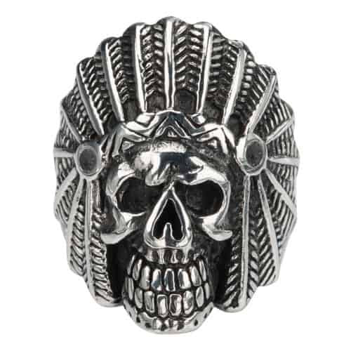 INOX Men's Stainless Steel Black Oxidized Chief Indian Skull Head Ring