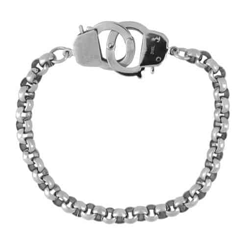 INOX Men's Stainless Steel Heavy Rolo Chain Bracelet With Handcuff Clasps