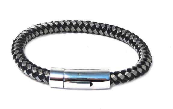 INOX Men's Stainless Steel Thread Black and Gray Braided Bracelet with Heavy Magnetic Clasp