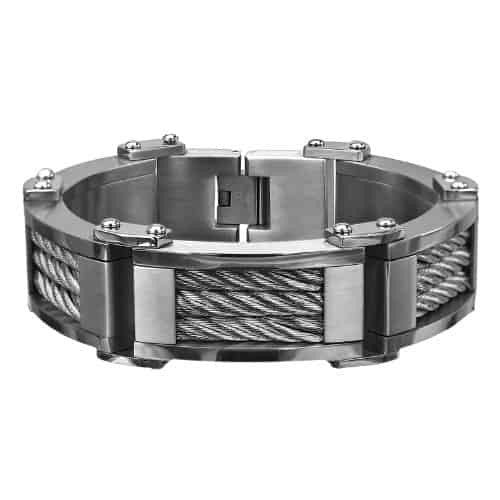 INOX Men's Stainless Steel Three Cable Link Matte and Polish Finished Bracelet