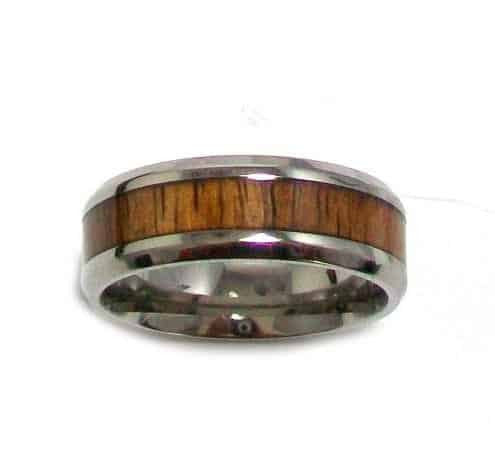 INOX Men's Titanium Wedding Band with Wood Inlay Size 13