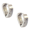 INOX 316L Stainless Steel Silvertone V Shape Huggie Hoop Earrings With One Crystal Edge