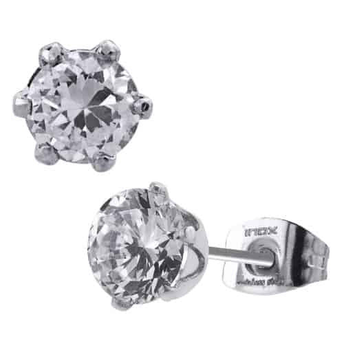 INOX Women's 316L Stainless Steel 6 Prong Stud Earrings With CZ Stone