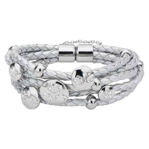 INOX Women's Elisha Collection Multi Braided Silver Tone Leather Bracelet Charmed with Clear Pave Gem