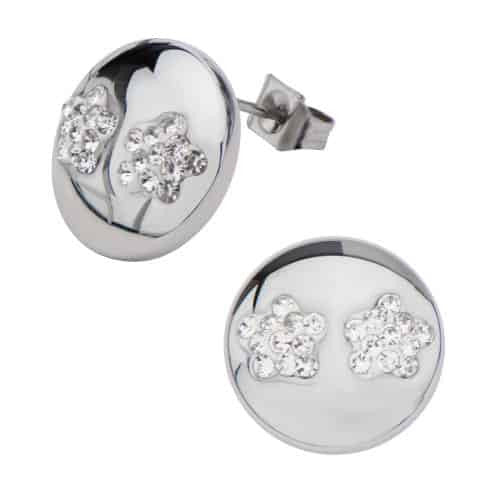 INOX Women's Elisha Collection Stainless Steel Polished Finish Clear Pave Flower Gem Stud Earrings