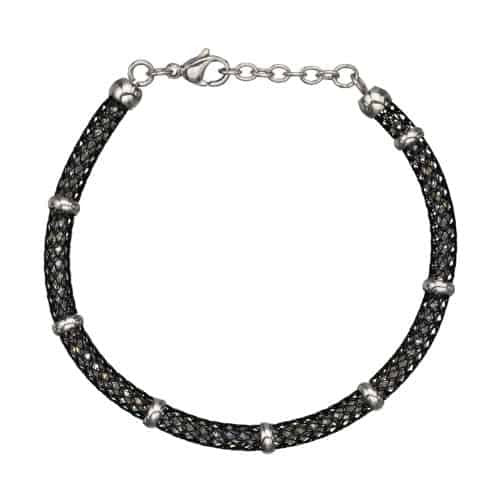 INOX Women's Stainless Steel Black IP Net Bracelet w/ Gems and Polish Finished Clasp