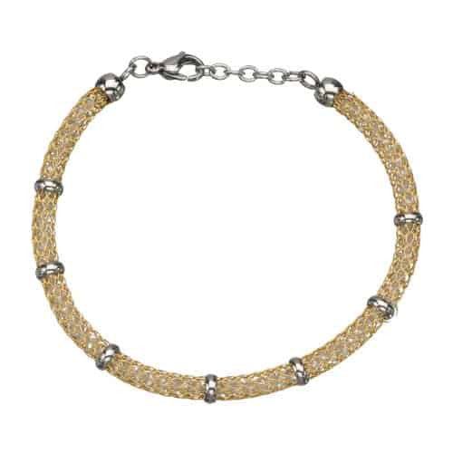 INOX Women's Stainless Steel Gold Tone IP Net Bracelet w/ Gems and Polish Finished Clasp
