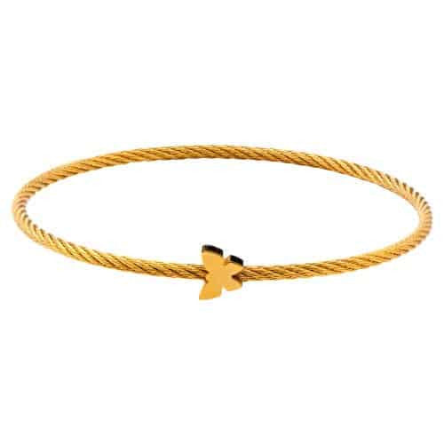 INOX Women's Stainless Steel IP Gold Tone Cable Bangle Bracelet with Butterfly Design at the Center
