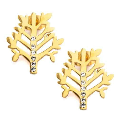 INOX Women's Stainless Steel IP Gold Tone Tree Stud Earrings with CZs
