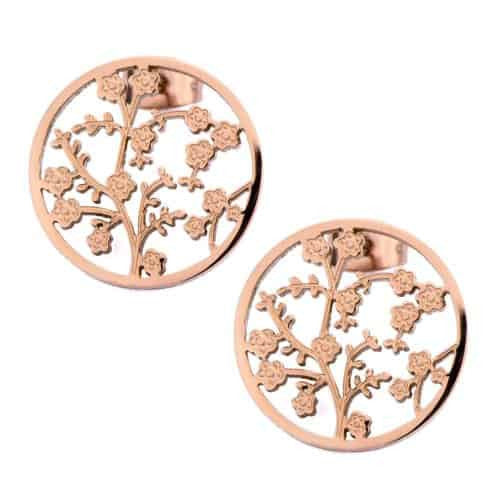 INOX Women's Stainless Steel IP Rose Gold Tone Flower Cutout Round Stud Earrings