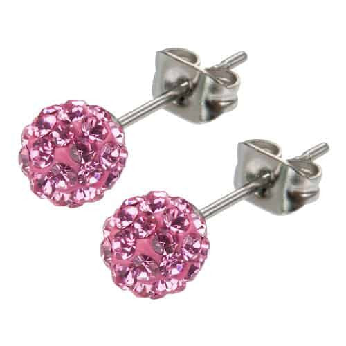INOX 6mm Women's Stainless Steel Pink Crystal Ferido Ball Stud Earrings