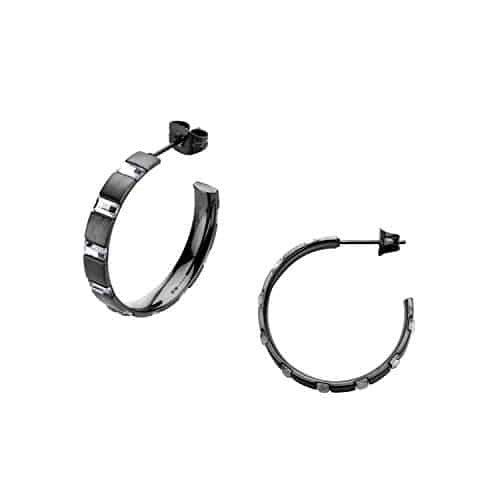 INOX Women's Stainless Steel Rectangular Crystal Hoop Earrings