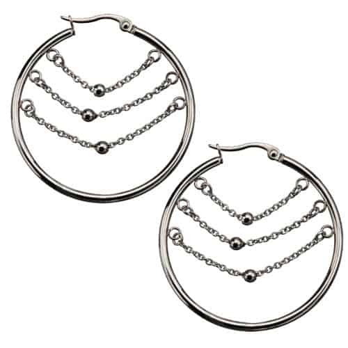 INOX Women's Stainless Steel Three Balls on Chain Inside the Polished Hoop Earrings