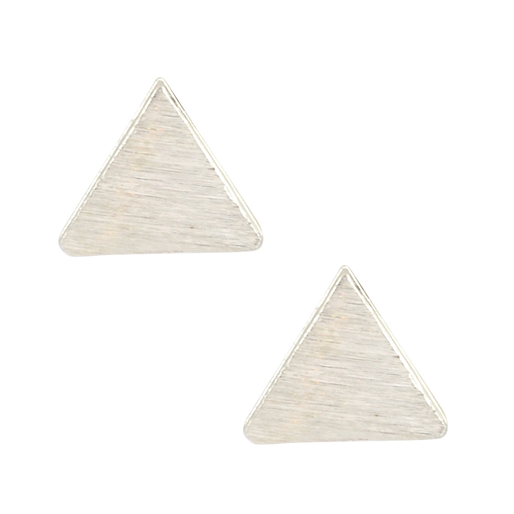 In Your Dreams Earrings, Lightweight Silver Plated Textured Triangle Stud Earrings