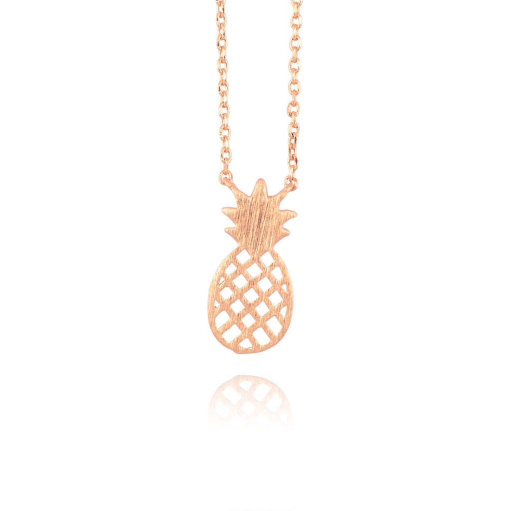 AppleLatte Pineapple Necklace, Dainty Rose Gold Plated Round Pendant