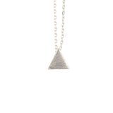 AppleLatte Textured Triangle Necklace, Silver Plated Pendant