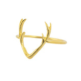 AppleLatte Deer Antlers Ring, Gold Plated