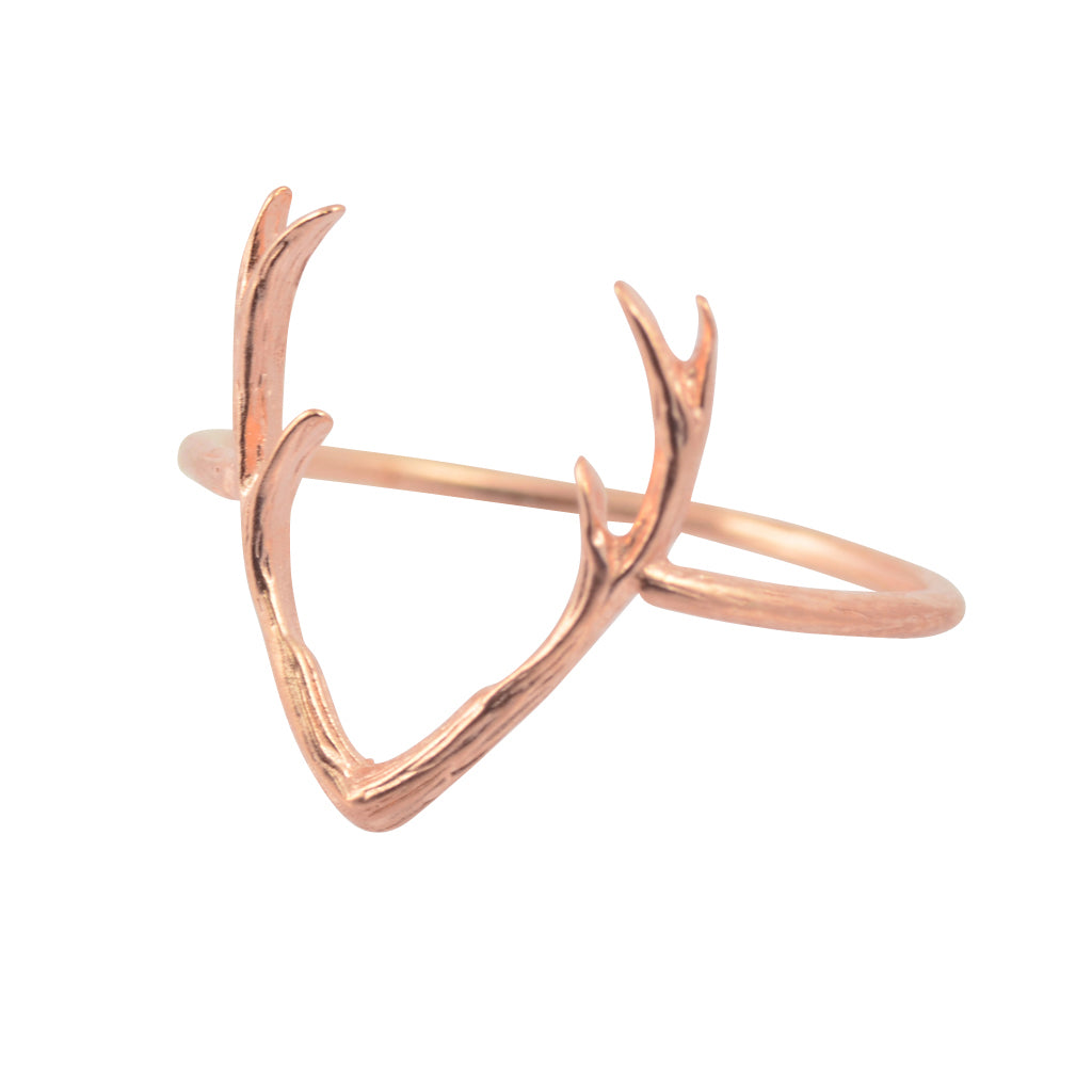 AppleLatte Deer Antlers Ring, Rose Gold Plated
