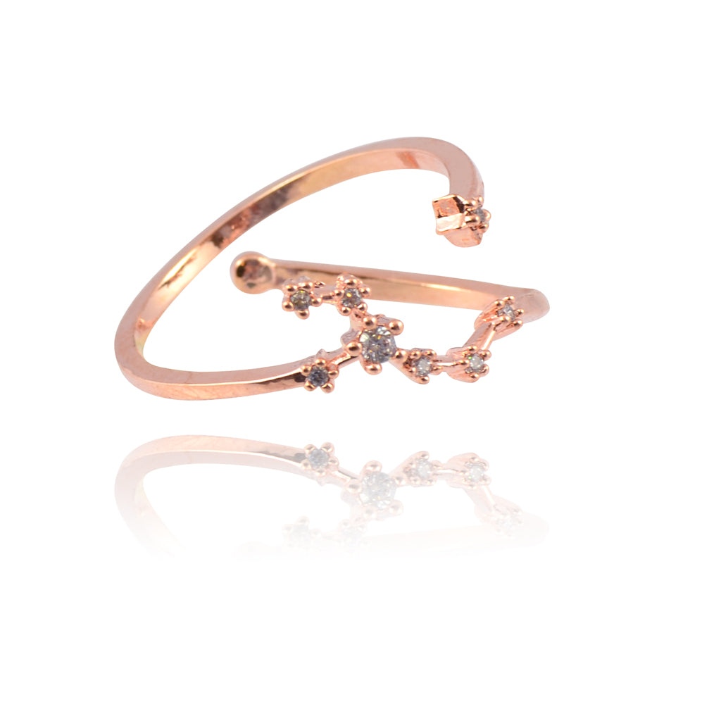 AppleLatte Big Dipper Crystal Ring, Dainty Rose Gold Plated Polished Adjustable Band