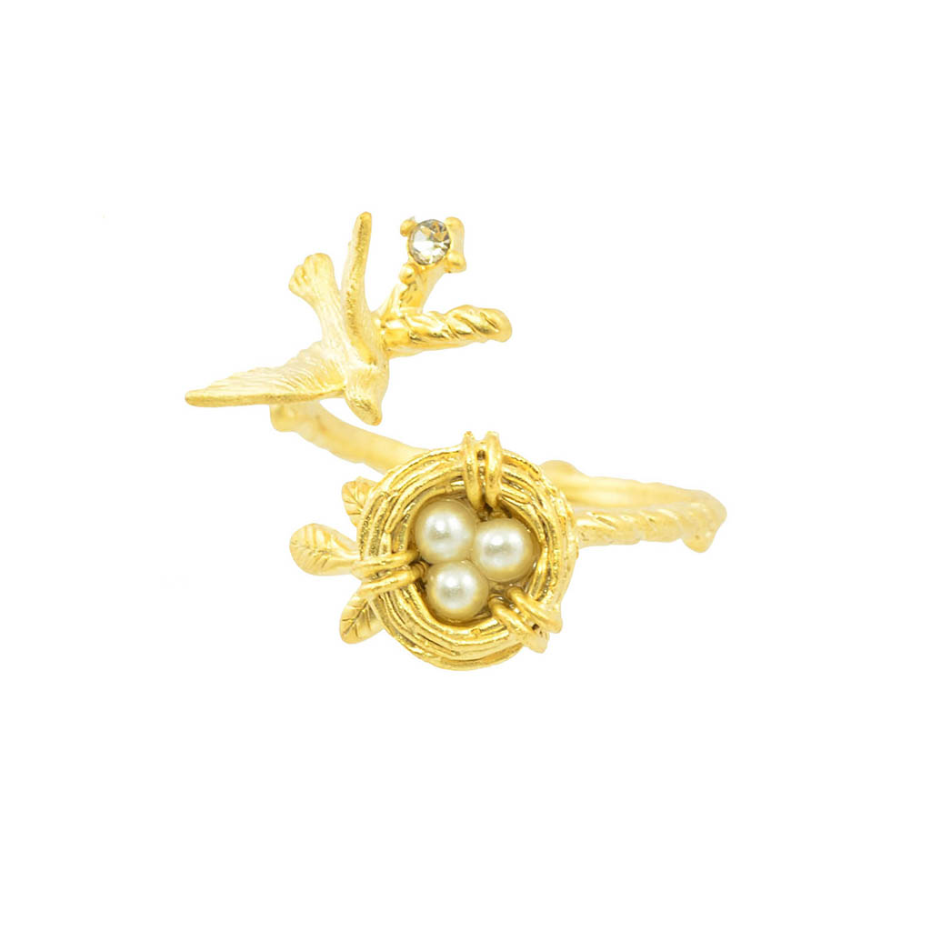 In Your Dreams Bird and Nest Ring, Gold Plated Adjustable