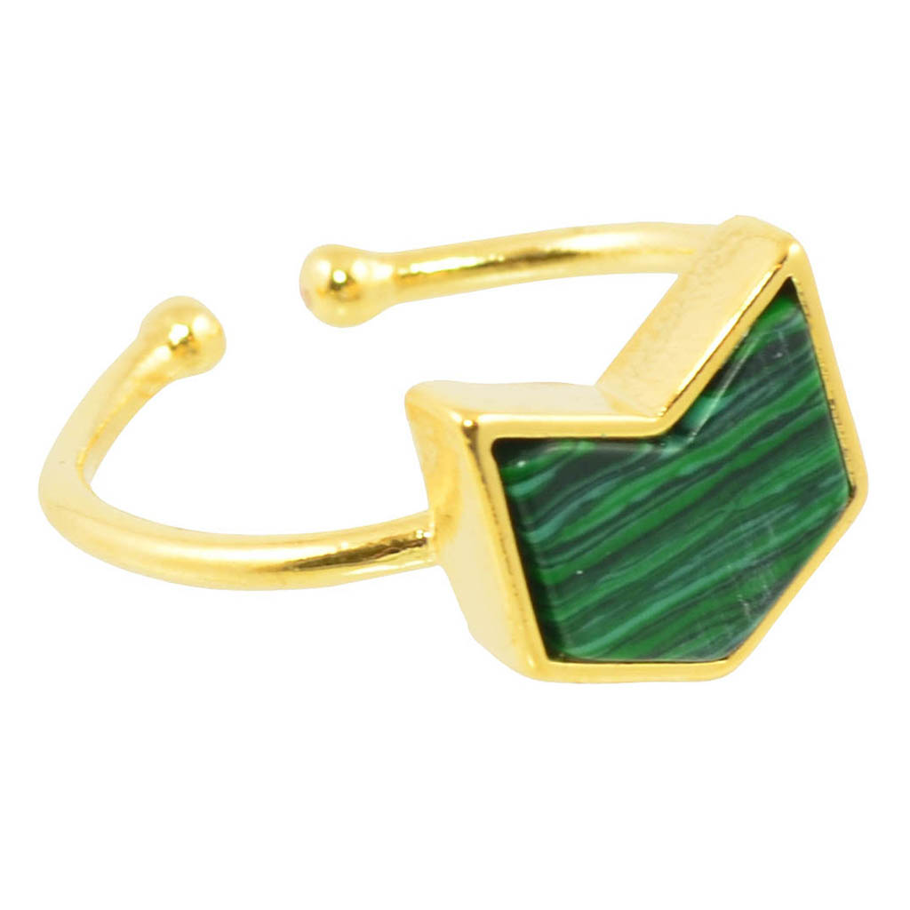 In Your Dreams Green Chevron Ring, Gold Plated Adjustable