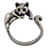 AppleLatte Relaxing Cat Wrap Ring, Antique Silver Plated Adjustable