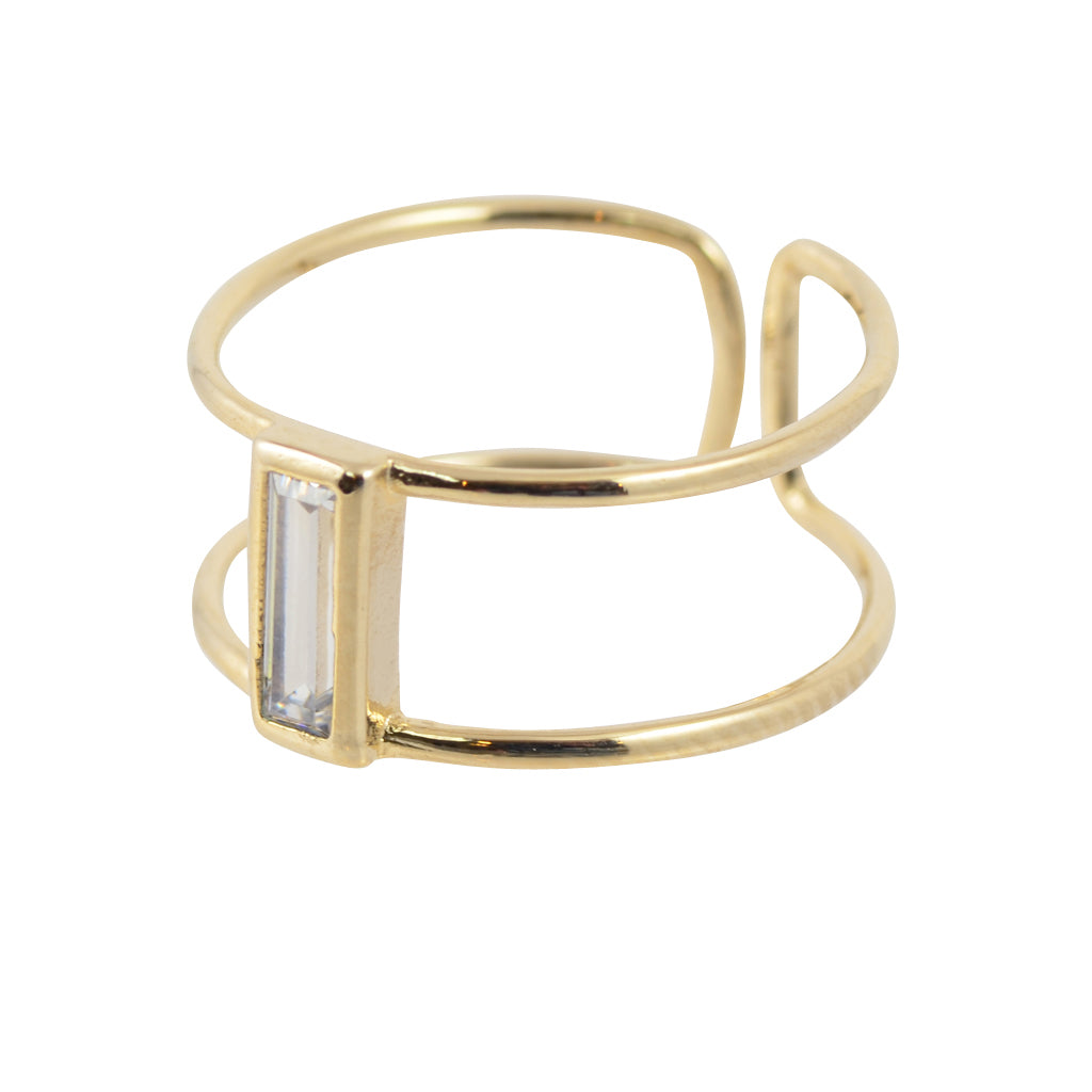 AppleLatte Rectangle Crystal Midi Ring, Gold Plated