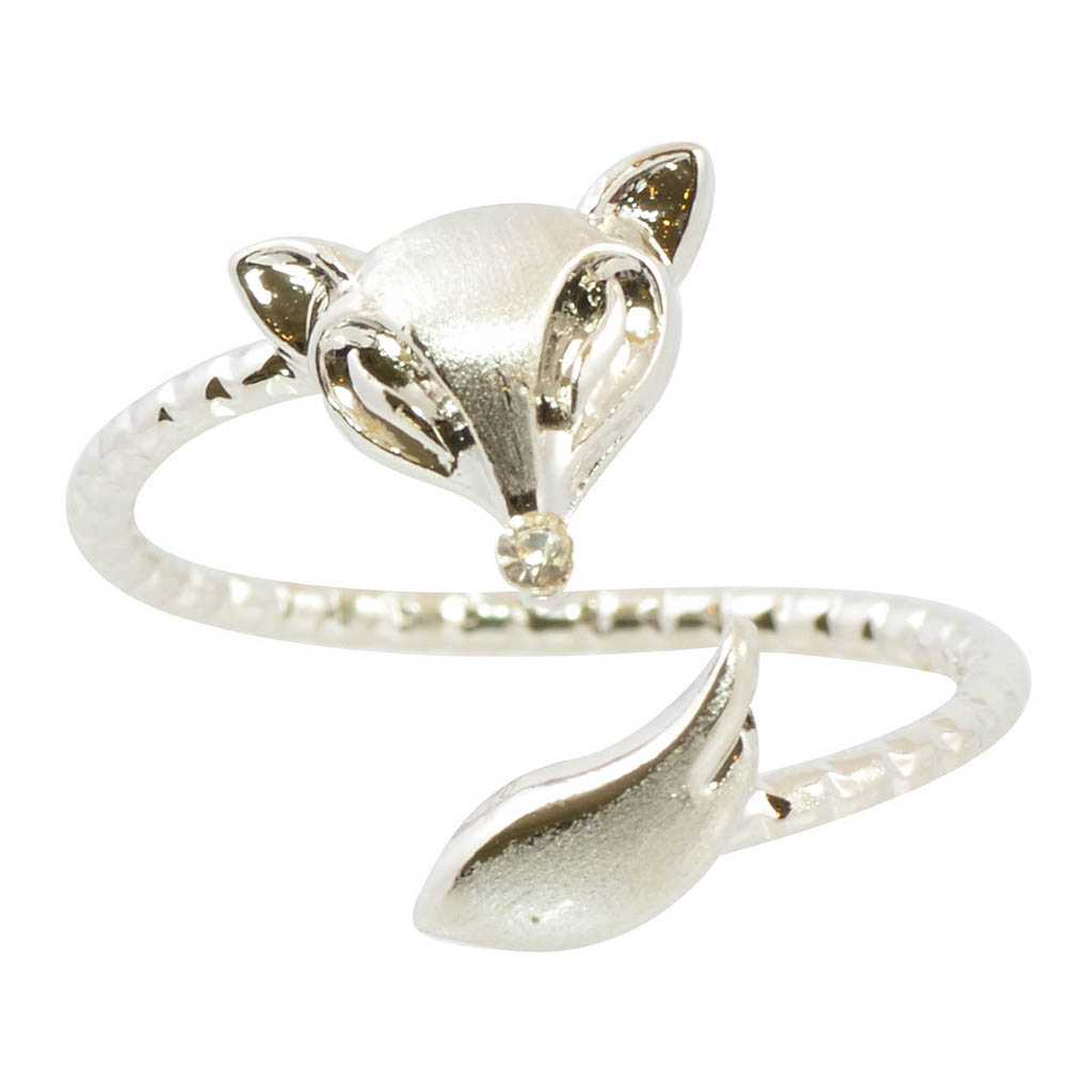 In Your Dreams Silver Plated Triangle Fox Adjustable Ring