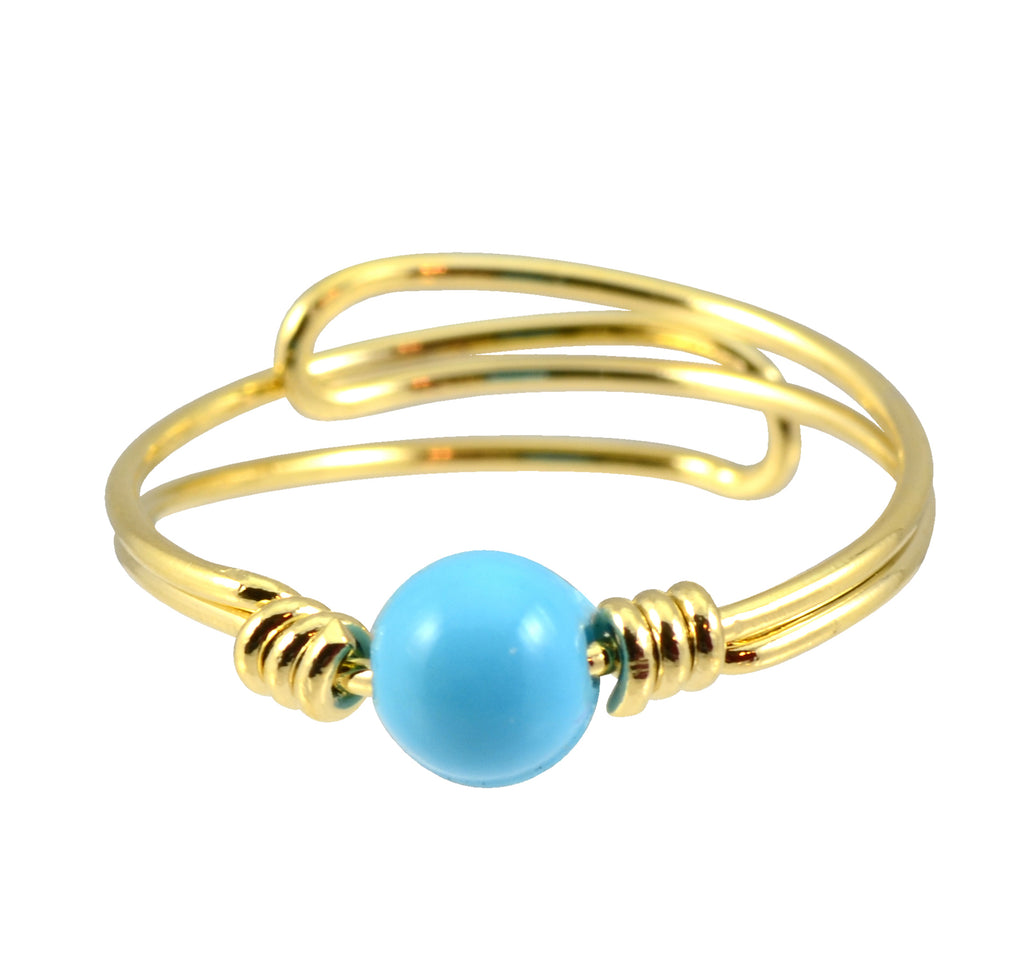 In Your Dreams Teal Ball Ring, Gold Plated Adjustable
