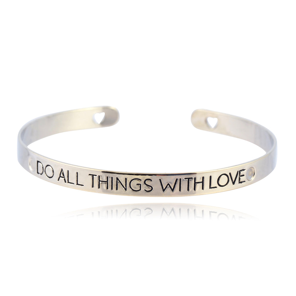 "In Your Dreams ""Do All Things With Love"" Bangle Bracelet, Silvertone Cuff Bracelet"