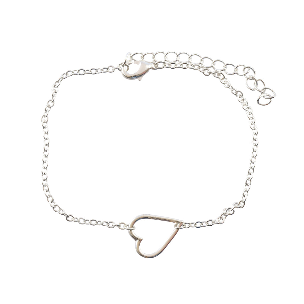 In Your Dreams Heart Bracelet, Dainty Silver Plated Link Bracelet
