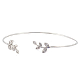 In Your Dreams Crystal Leaf Tennis Bracelet, Silvertone Link