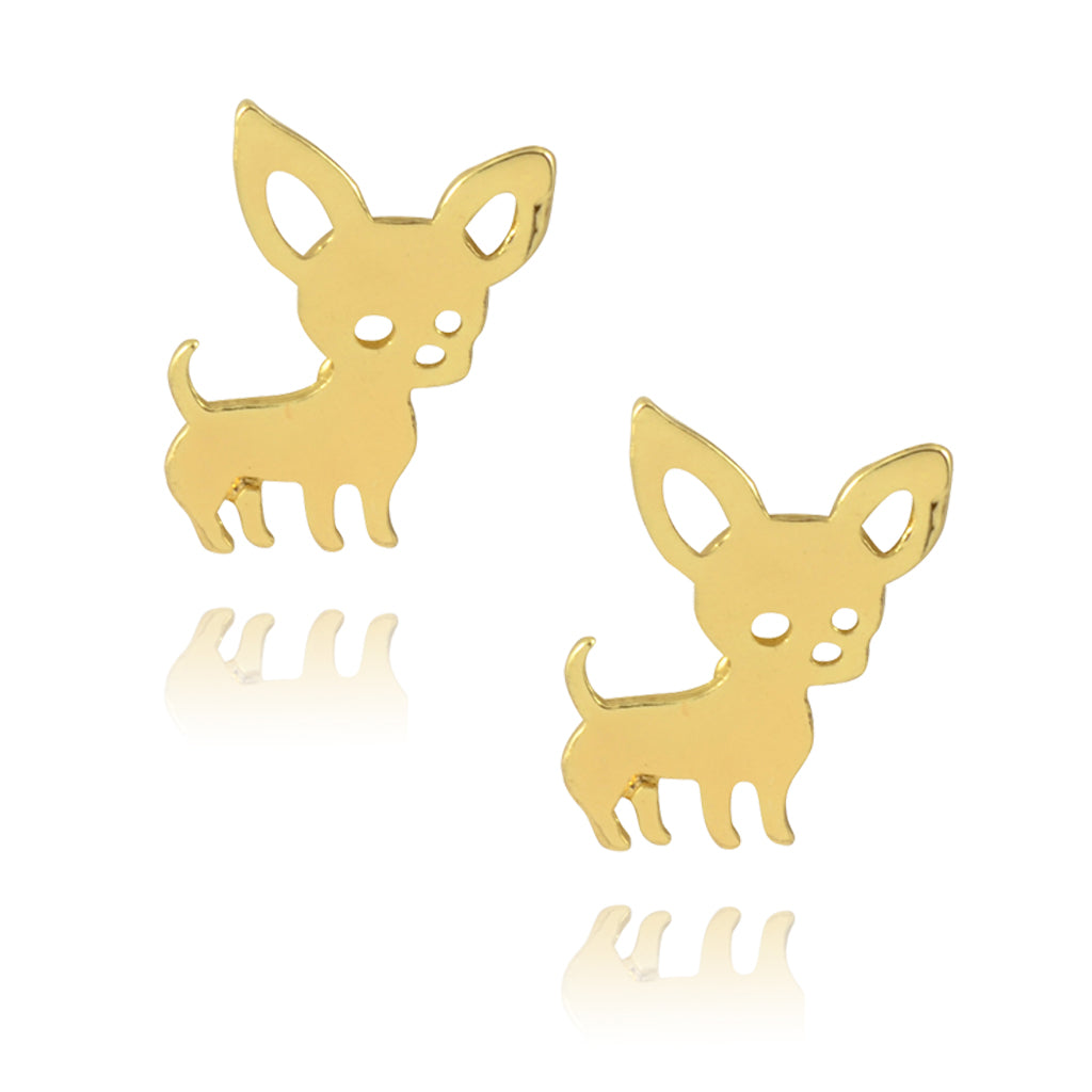 In Your Dreams Chihuahua Earrings, Dainty Gold Plated Studs