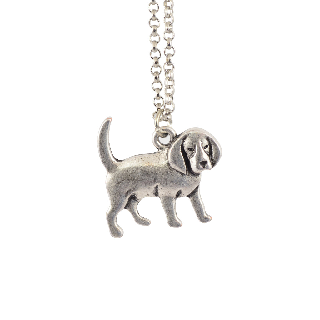 In Your Dreams Basset Hound Dog Necklace, Dainty Silver Plated Pet Pendant