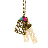 In Your Dreams Bird and Cage Necklace, Dainty Brass Pendant