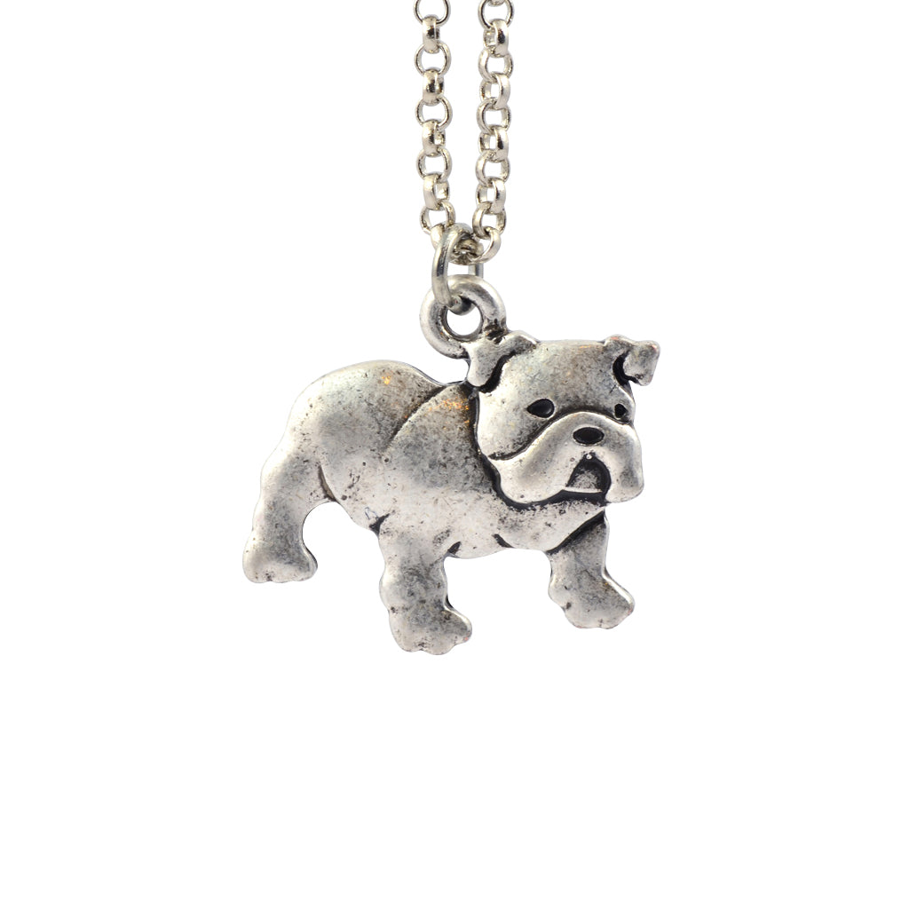In Your Dreams Bulldog Dog Necklace, Dainty Silver Plated Pet Pendant