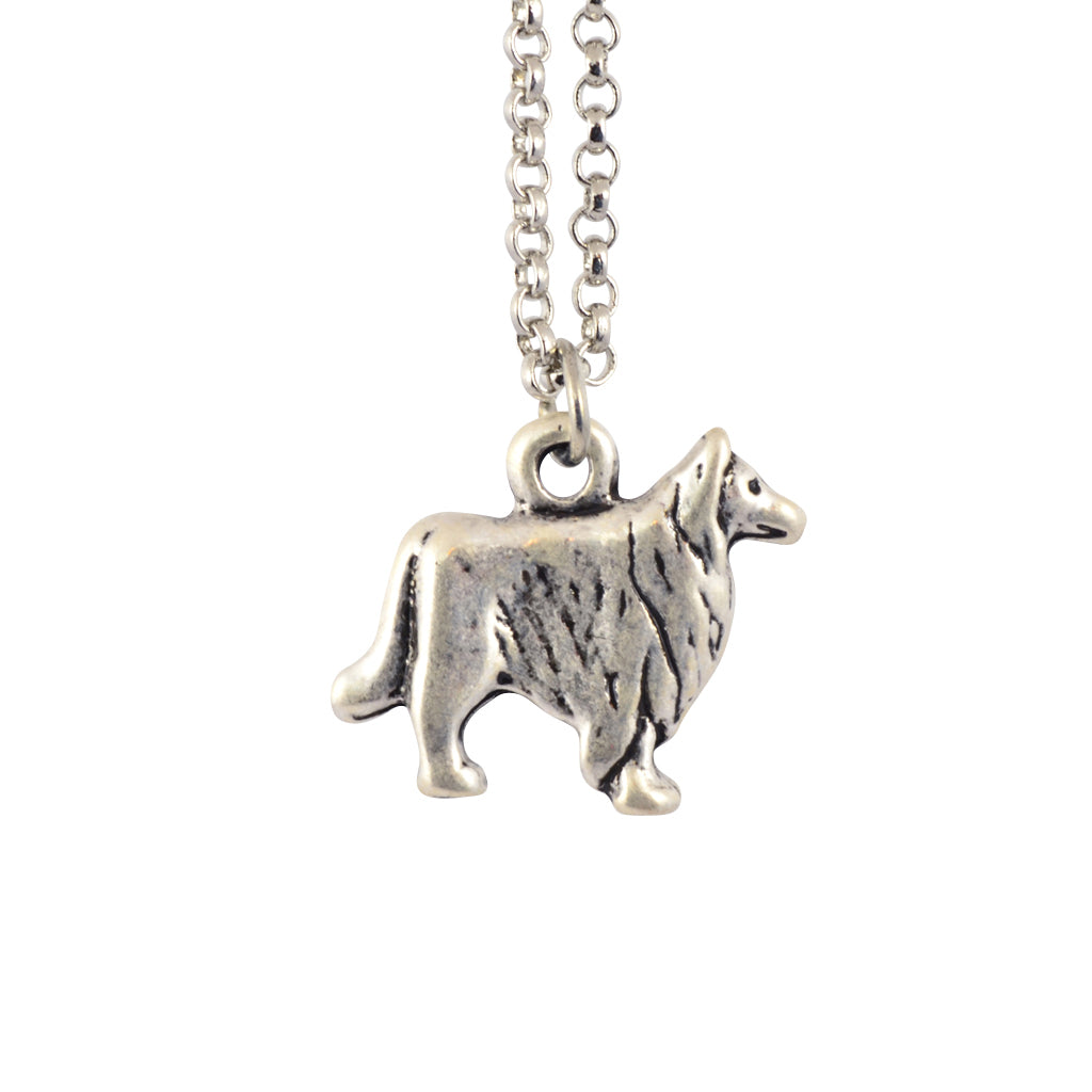 In Your Dreams Collie Dog Necklace, Dainty Silver Plated Pet Pendant