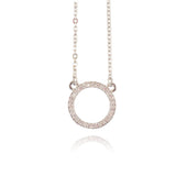 In Your Dreams Crystal Circle Necklace, Dainty Silver Plated Round Pendant