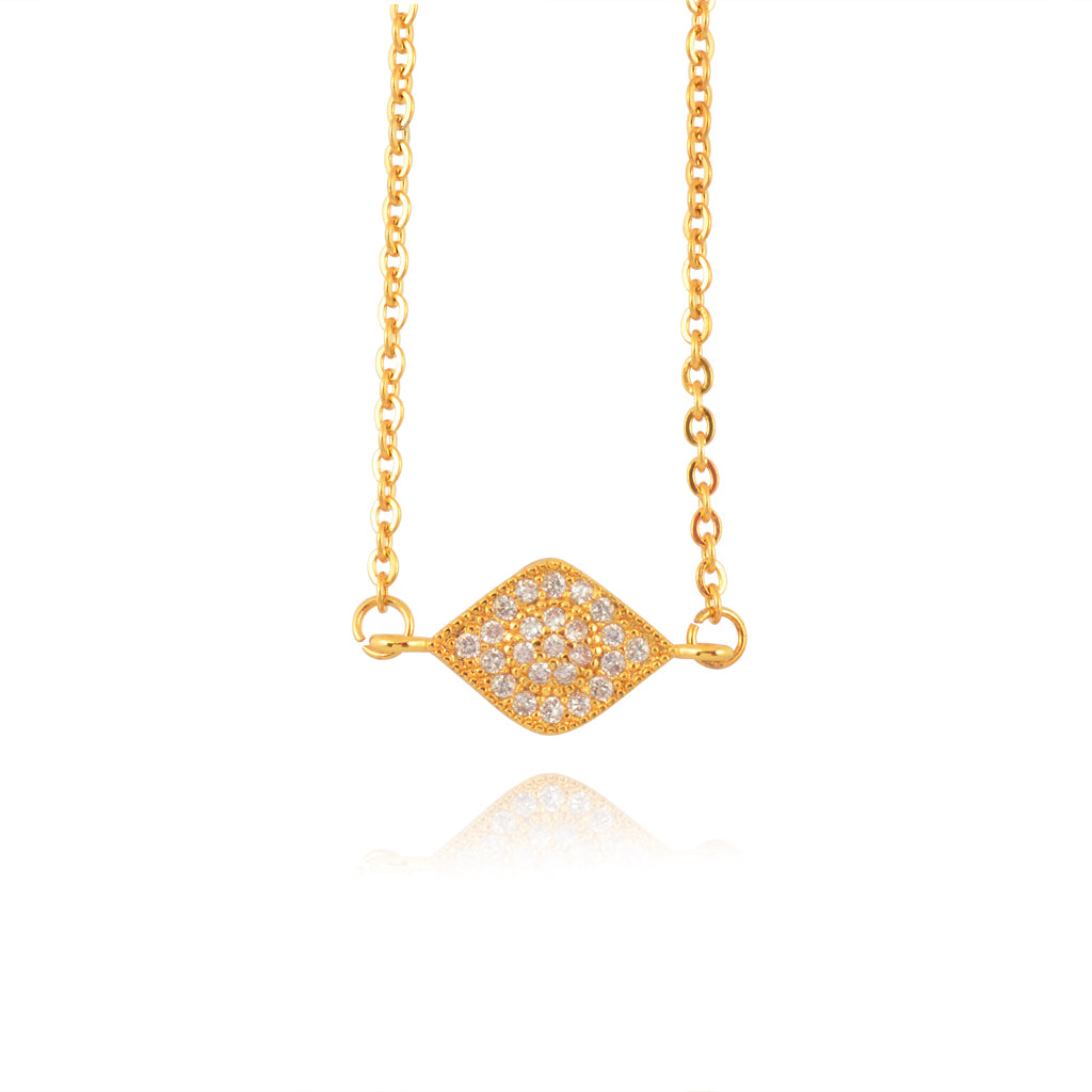 In Your Dreams Crystal Eye Necklace, Dainty Gold Plated Round Pendant