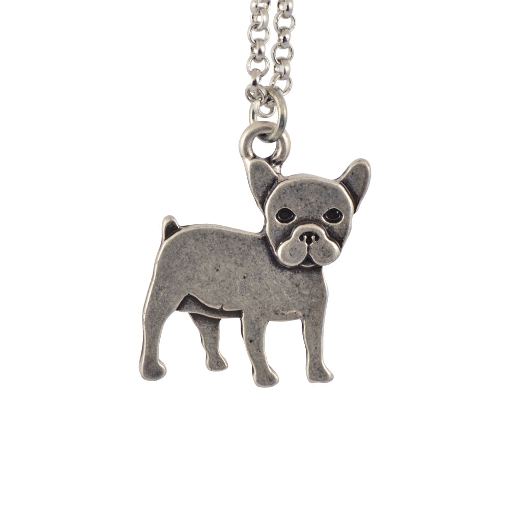 In Your Dreams French Bulldog Dog Necklace, Dainty Silver Plated Pet Pendant